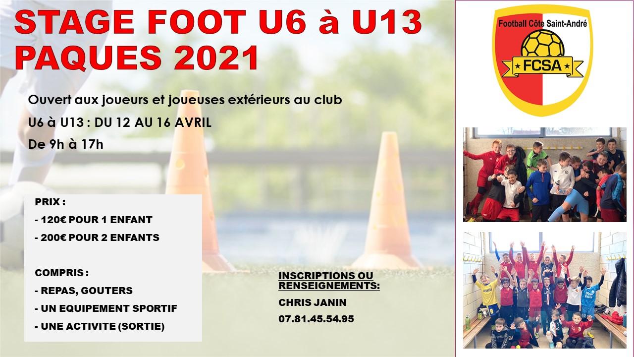 Stage Paques 2021 – U6 à U13